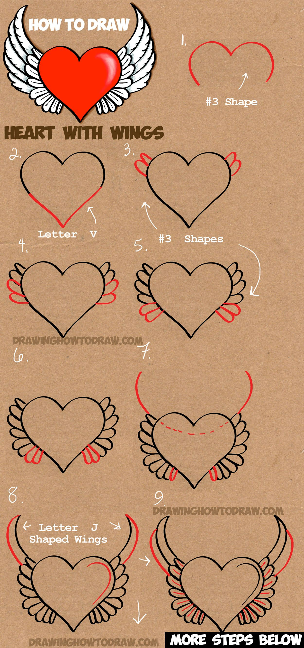 learn how to draw a heart with angel wings simple steps drawing