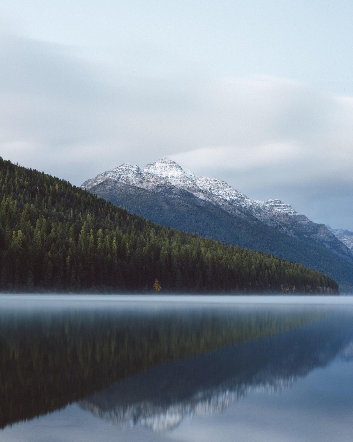 Morning fog on bowman lake in northwest montana x