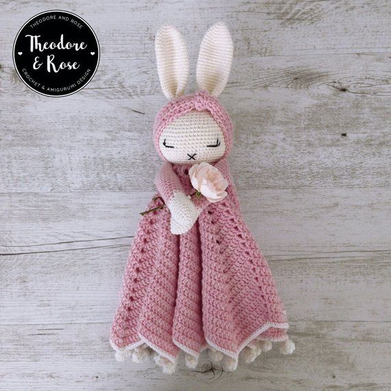 Hattie The Bonnie Bunny Security Blanket / Crochet Lovey Pattern / Baby Blanket / Baby Comforter / Security Blanket / PDF Crochet Pattern #securityblankets