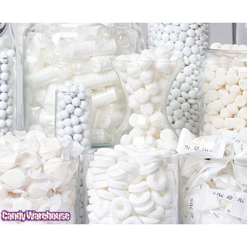 make your own white candy buffet like the one in the photo gallery rh pinterest com white candy buffet table white candy buffet bags