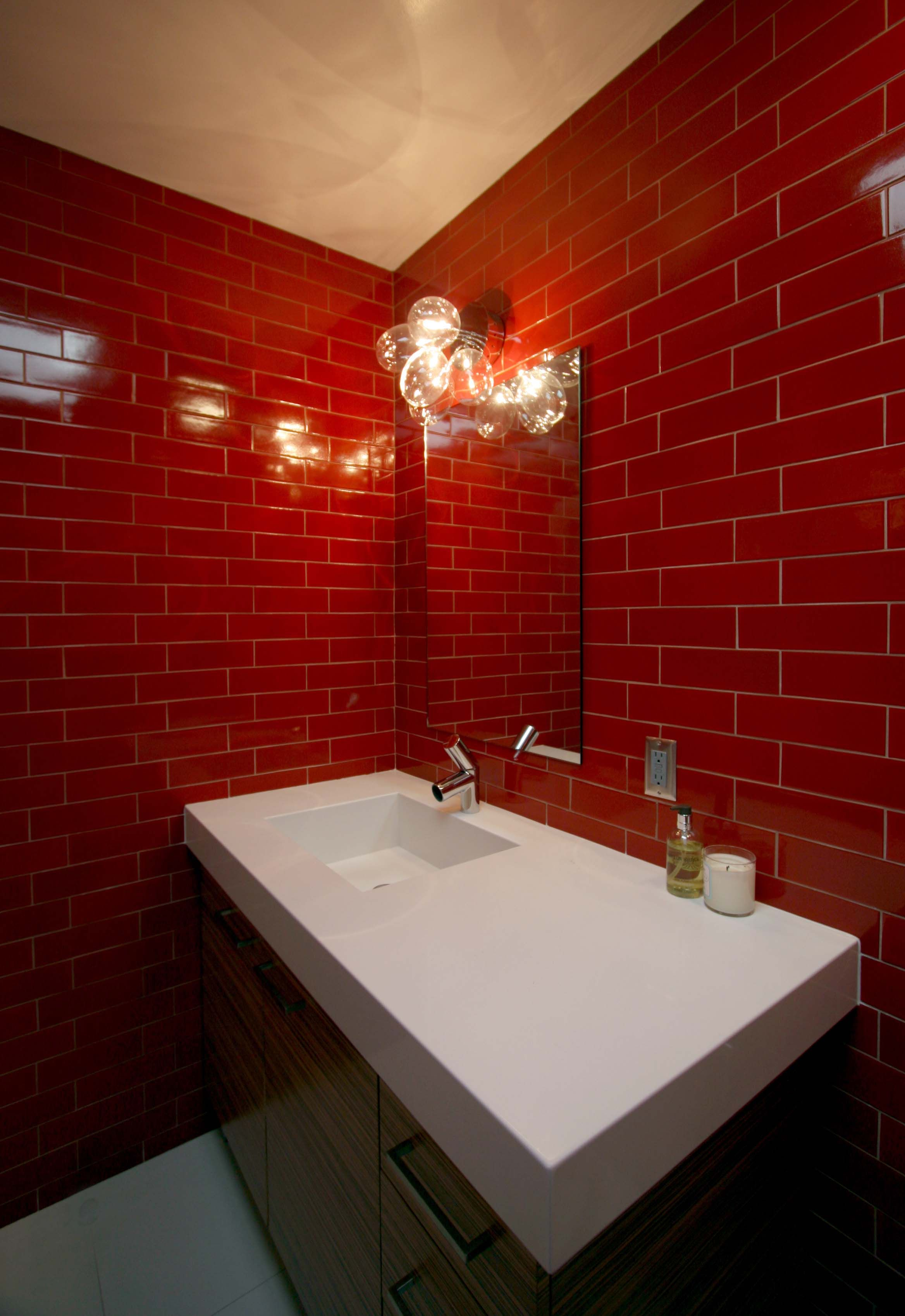 Red Glass Tile Wall Mounted White Sink Bathroom Red White