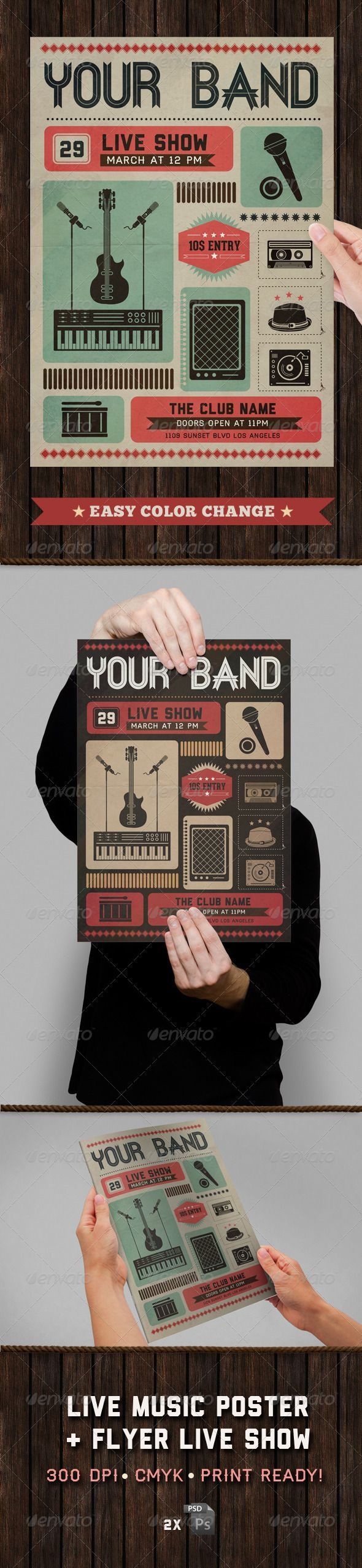 Live Show Music Poster  Flyer Template  Graphicriver Item For