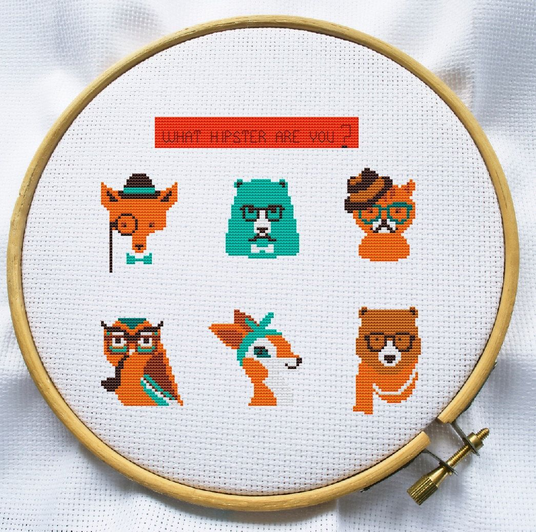 Hipster Animal cross stitch pattern Instant par MagicCrossStitch