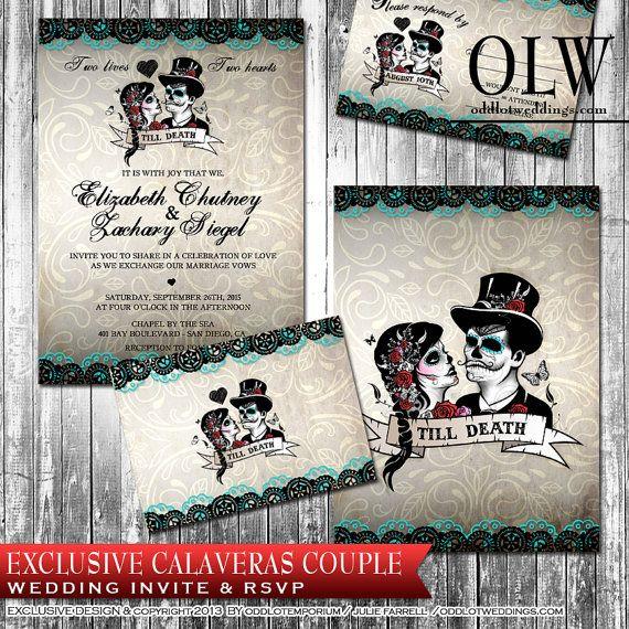 Calaveras Sugar Skull Wedding Invitation and RSVP Set Digital ...