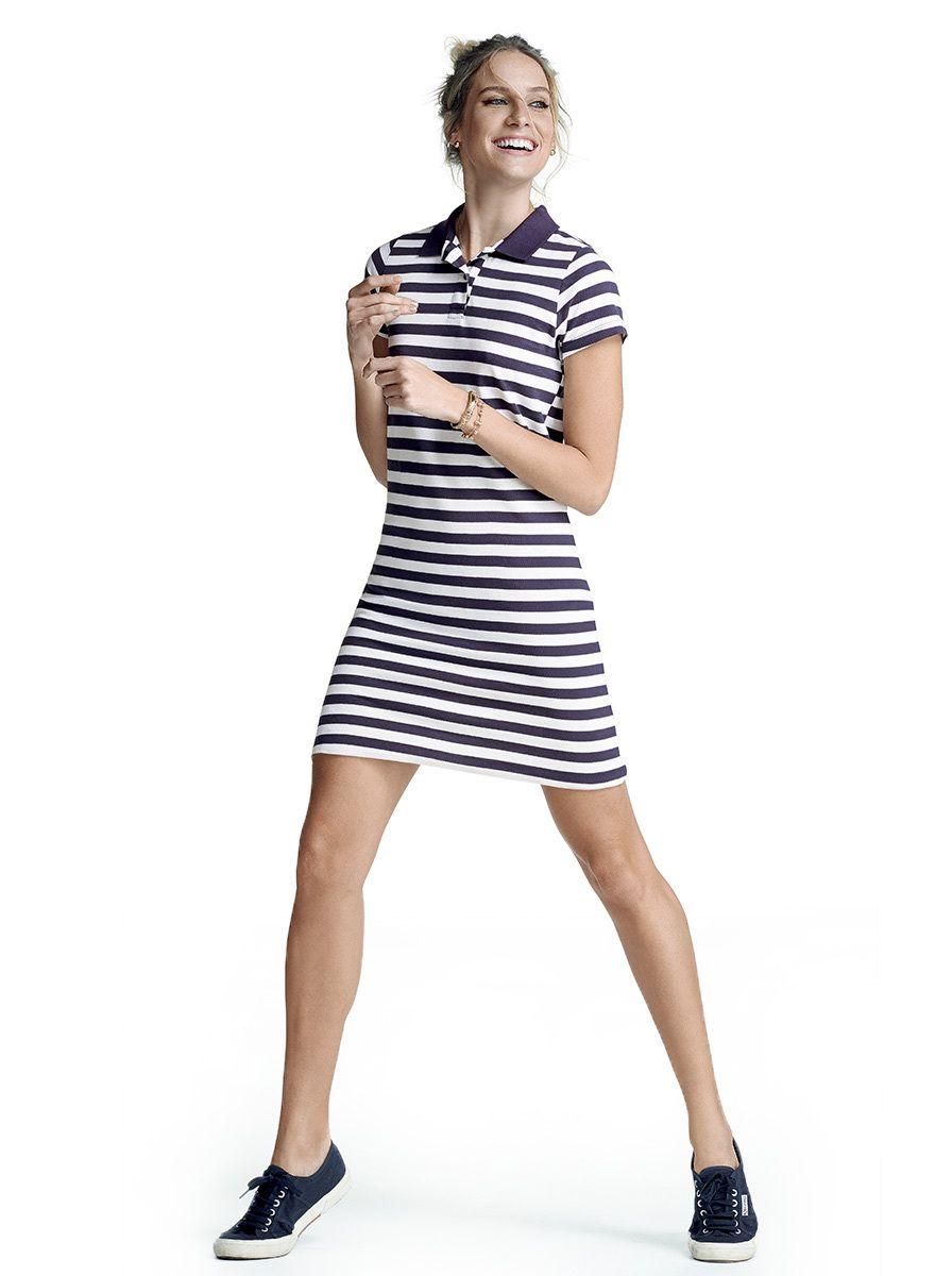 fc3699ac5fa Vestido gola polo hering listrado na cor azul marinho em tamanho G. A  influência esportiva é uma característica marcante do modelo gola polo.  Feminino e ...