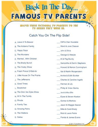 baby shower games: Back In The Day. Famous TV Parents | Fun