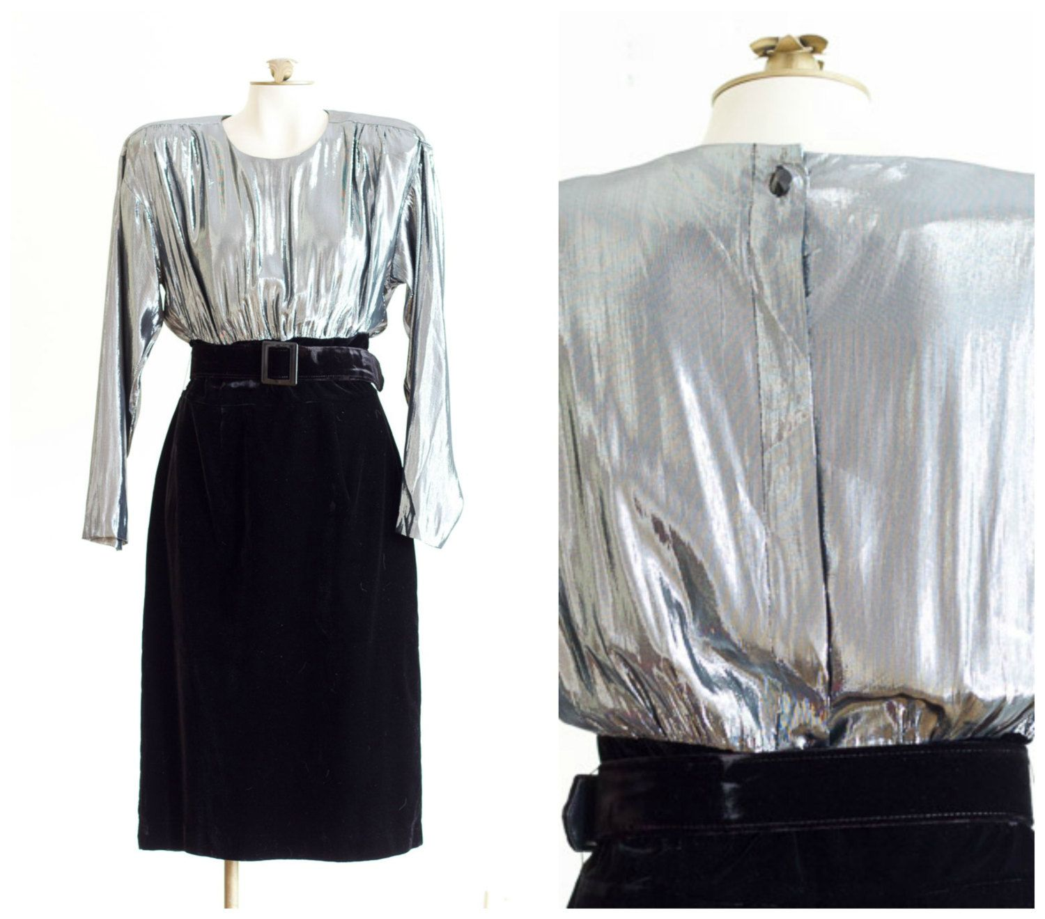 S silver lame and black velvet long sleeve cocktail dress with