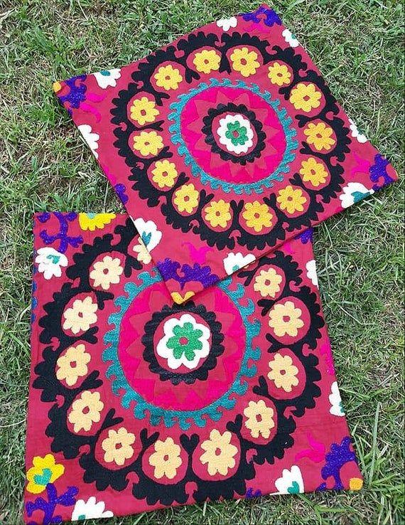 A set of Uzbek hand embroidery Vintage Suzani pillow cover, pillow covers, pillowcase, pillowcases