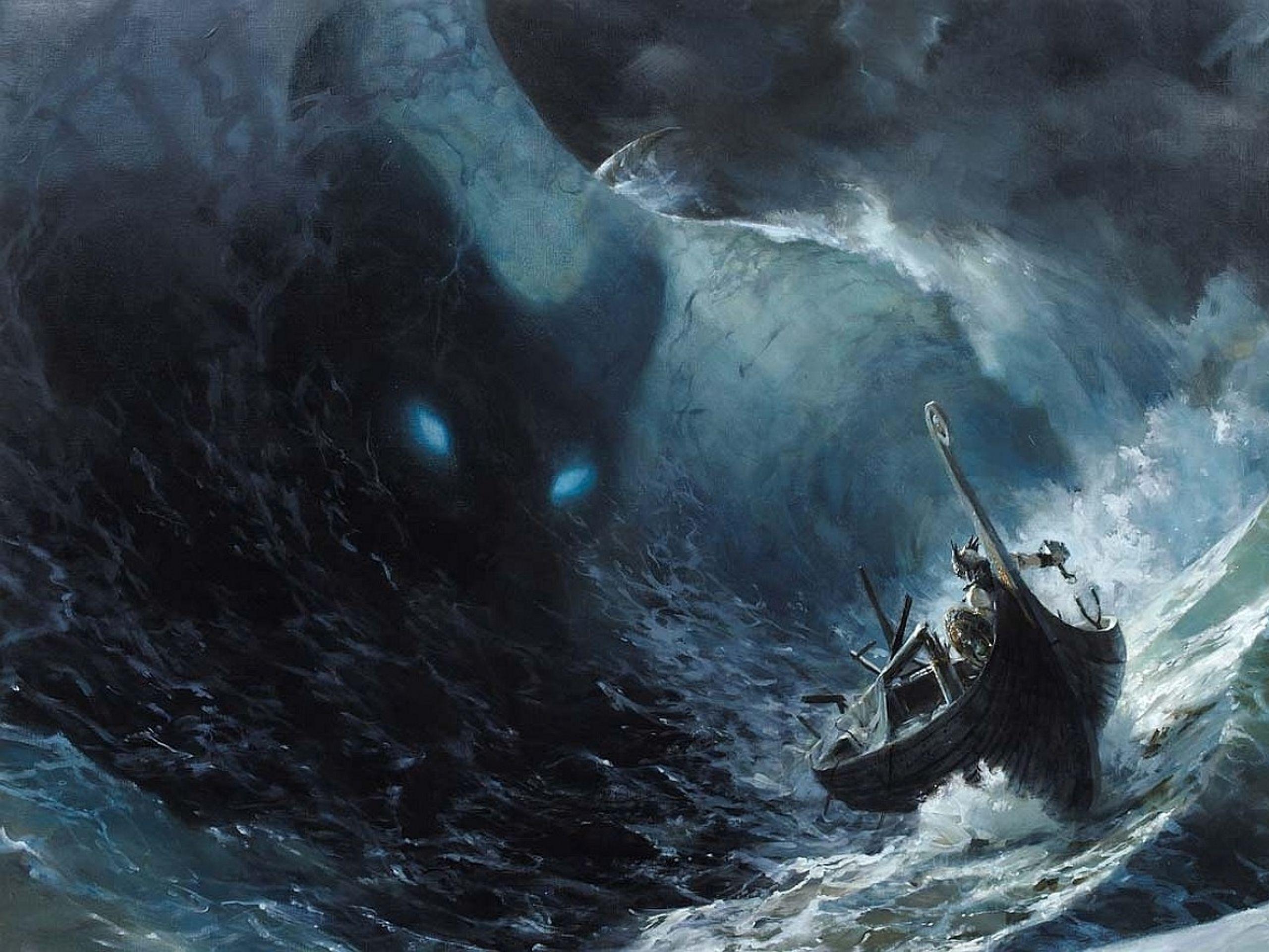 Paintings Ocean Monsters Waves Thor Storm Legend Fantasy Art