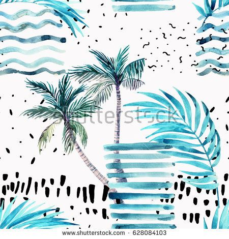 Abstract Summer Seamless Pattern Watercolor Palm Tree Leaves Grunge Textures Doodles