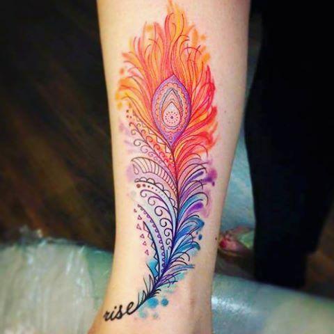 Resultado De Imagen Para Tatuaje Pluma Colores Tatuajes Pinterest