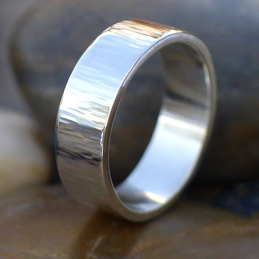 fdbb8c9847 wide hammered ring with tree bark finish by lilia nash jewellery |  notonthehighstreet.com