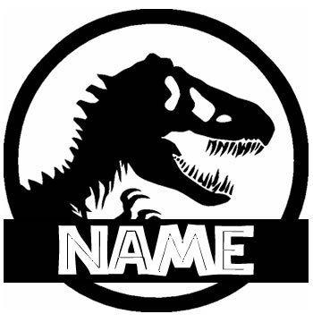 T Rex Jurassic Park Custom With Your Name Black Vinyl Decal Art