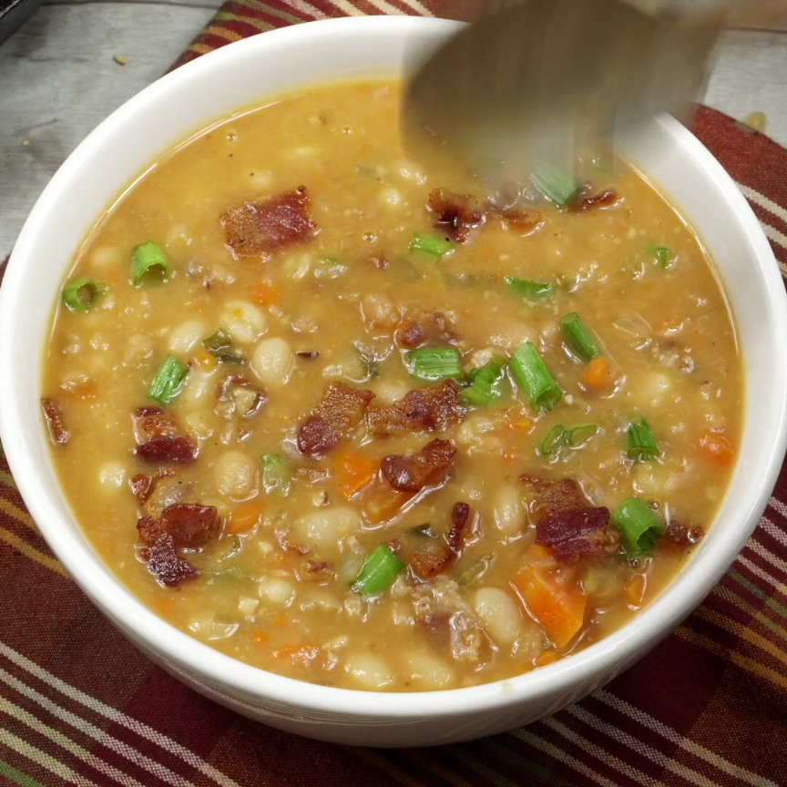 Slow Cooker Bean and Bacon Soup Recipe-Butter Your Biscuit
