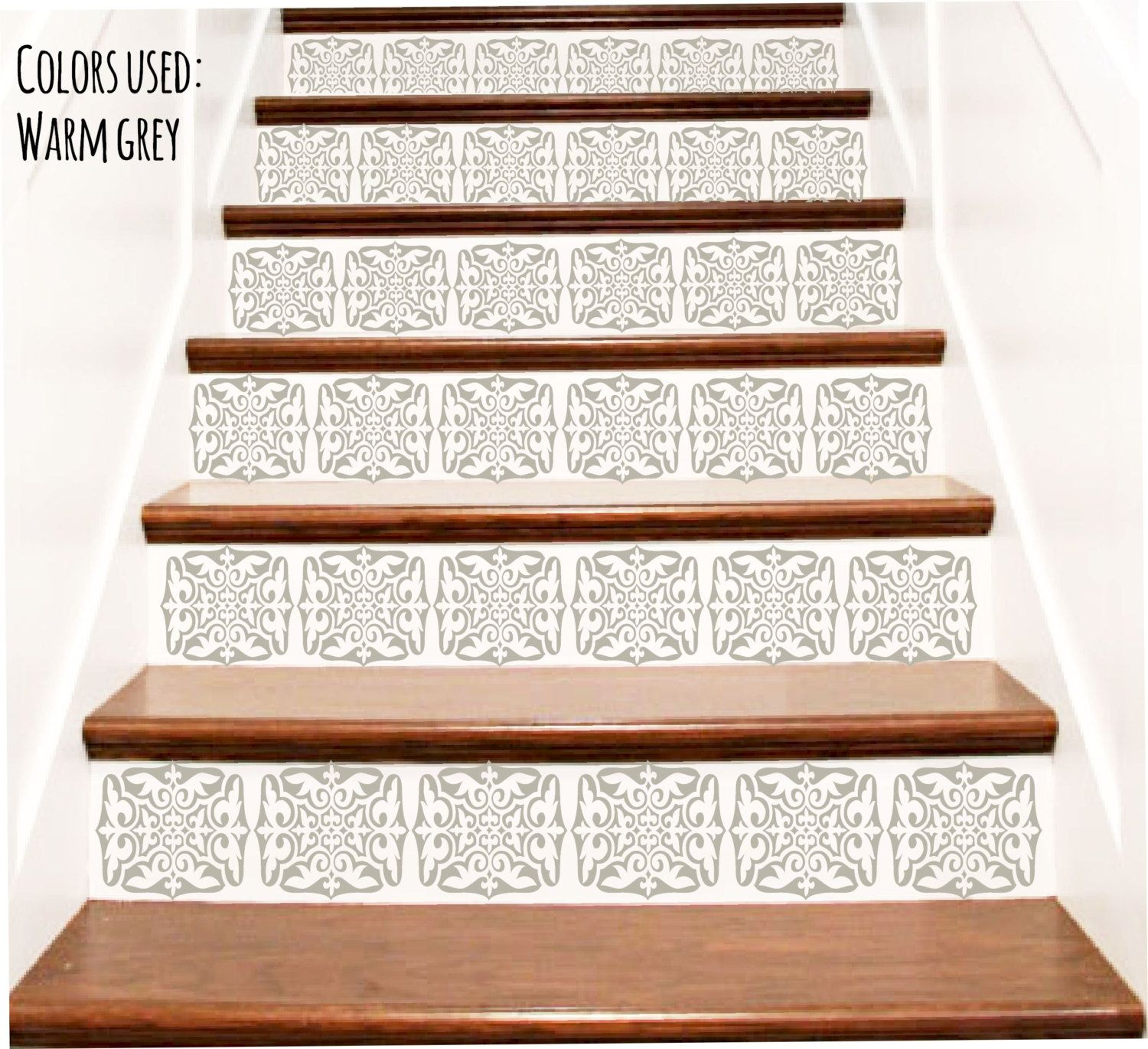 stair stickers victorian vinyl tile decals for stair risers stairway staircase escalier wall decor - Abnehmbare Backsplash Lowes