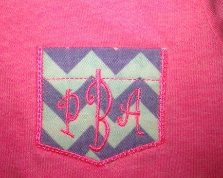 Pocket T Shirt Girls Shirt Custom Embroidery with Monogram on Etsy, $20.00