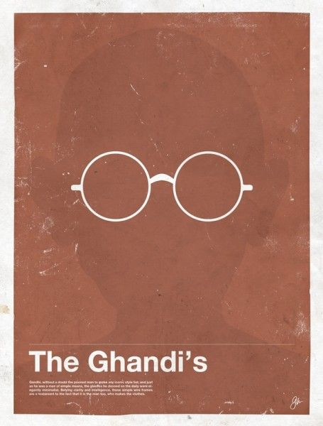 8f0e02bfb2e Minimalist Posters Featuring Celebrities  Glasses- The Ghandi s
