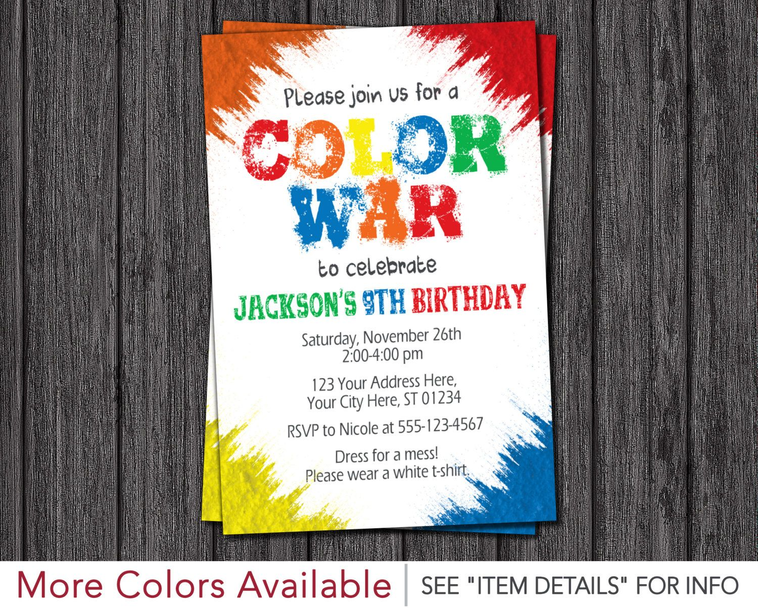 Color War Invitation • Color Run Birthday Party Invitations by ...