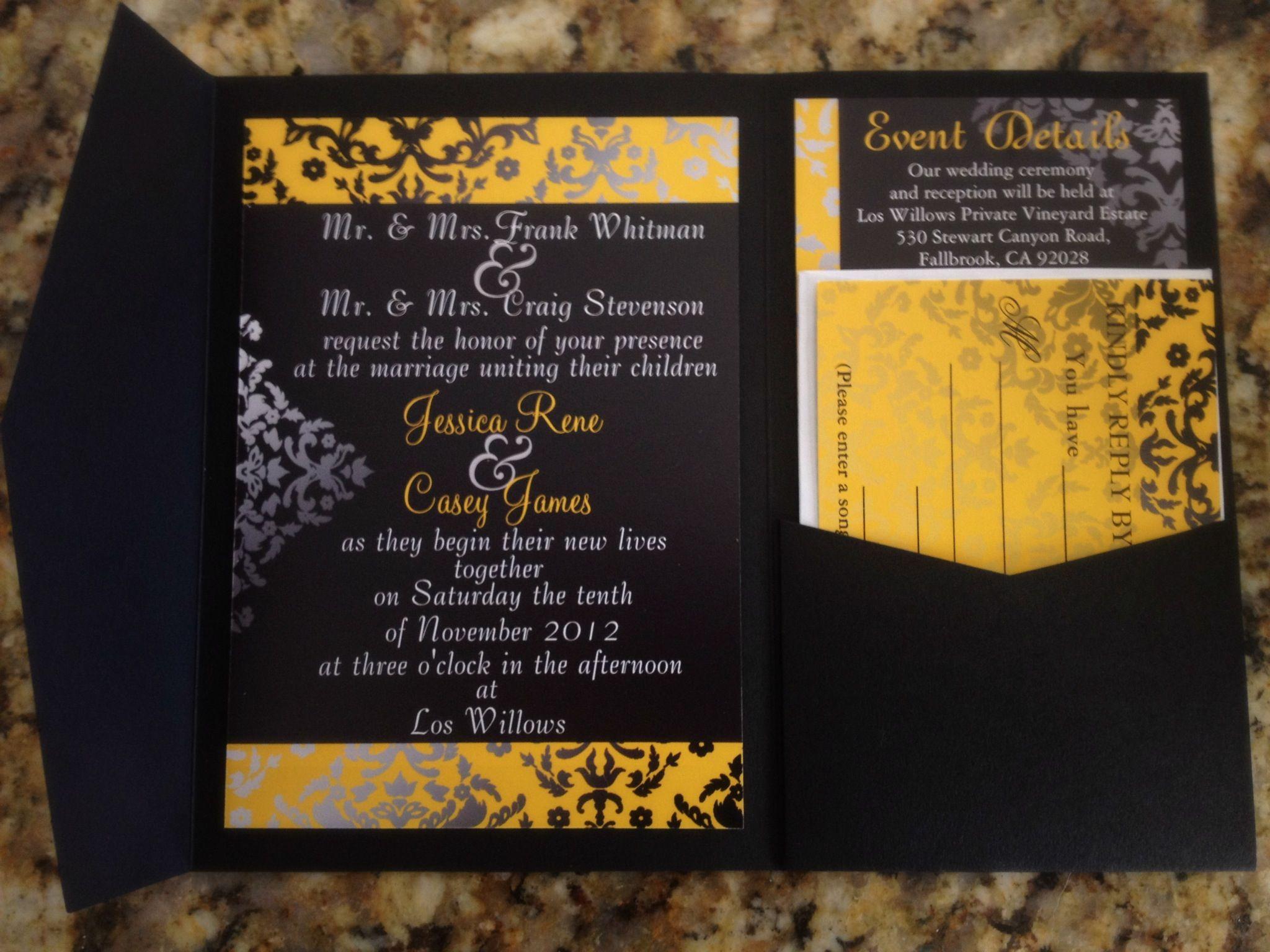 Unique Wedding Invitation Moroccan print yellow black Wedding