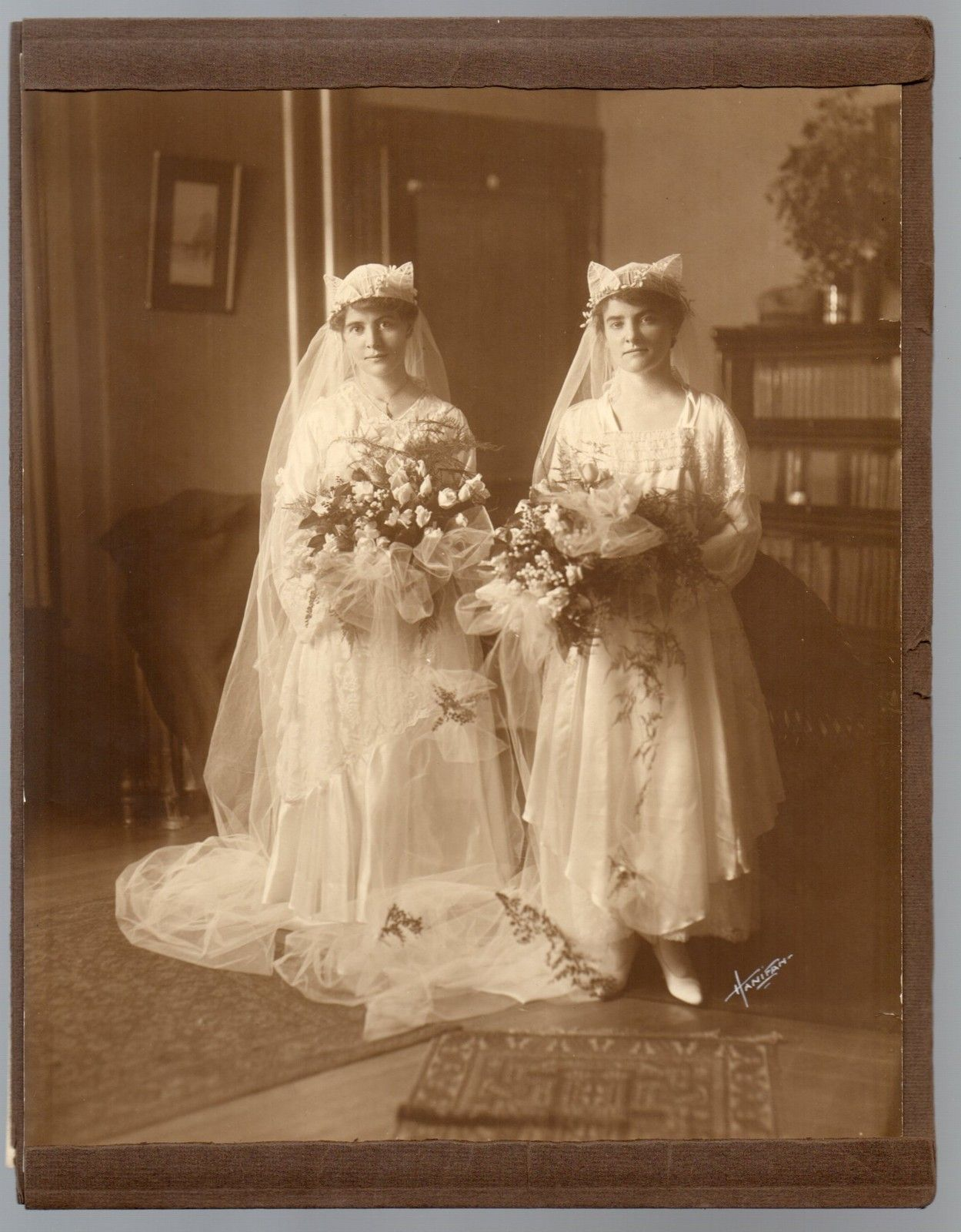 1916 Wedding Photo Al Two Sisters As Brides Double Chico Falls Ma I Lived Near There In Elementary School