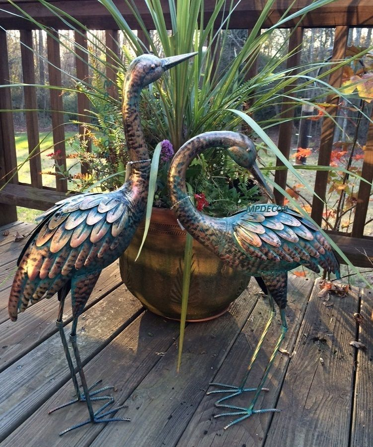 Copper Patina Crane Pair Metal Garden Decor Statues Bird