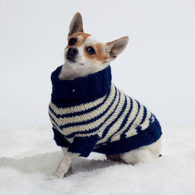 Red Heart Striped Knit Dog Coat, S | Dog coat pattern ...