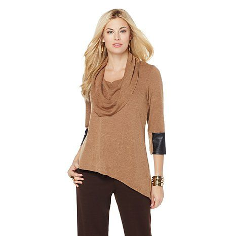Product I designed for Slinky® Brand Angle-Hem Tunic with Faux Leather Detail