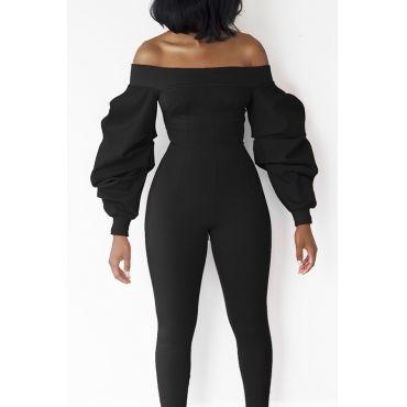 eaabcff38d9b USD10.99 Trendy Dew Shoulder Lantern Type Long Sleeves Black Polyester One-piece  Jumpsuits