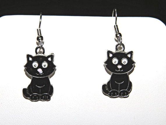 Black Cat Earrings.  Halloween.  Surgical Steel by NammersCrafts