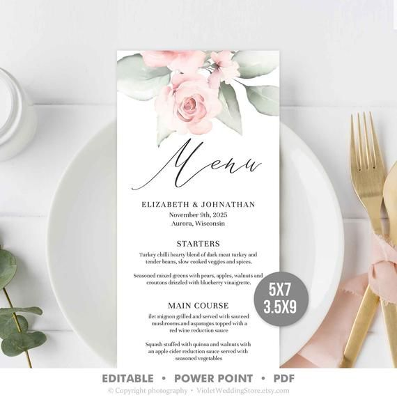 Blush Floral Wedding Menu Template, Editable Wedding Dinner Menu, Pink Roses Wedding Menu Printable #weddingmenutemplate