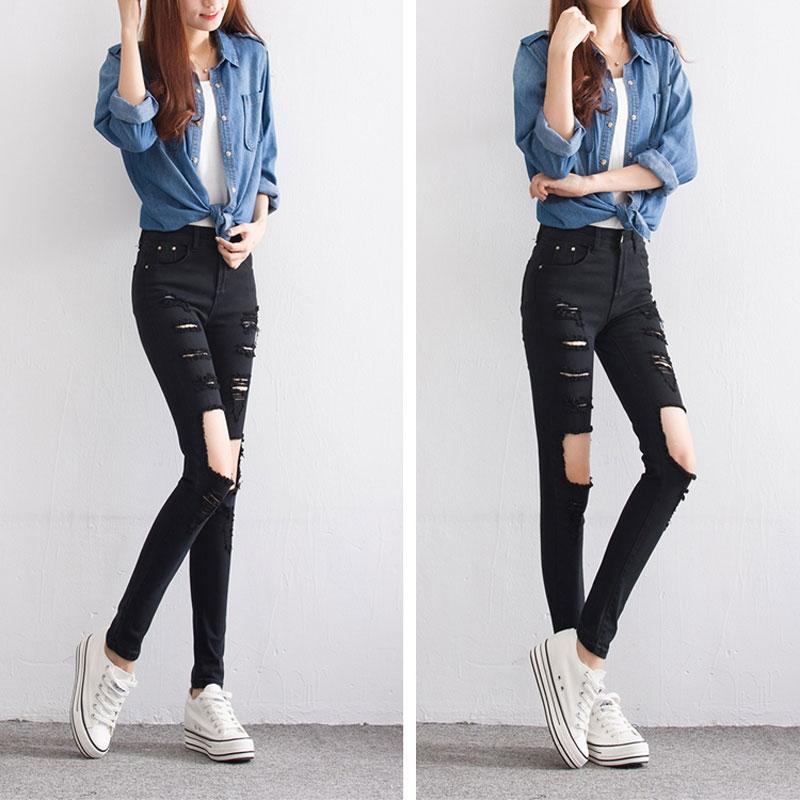 38.92$  Buy here - http://alihl7.shopchina.info/go.php?t=32734263886 - Mid waist women jean black hole ripped jeans fall vintage pencil pants fashion girl skinny trousers pantalon taille haute femme  #magazineonline