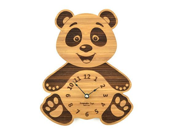 Panda Bear Clock Baby Nursery Wooden Gift For Children Wood Animal Modern Decor Boy Or Keepsaketoys