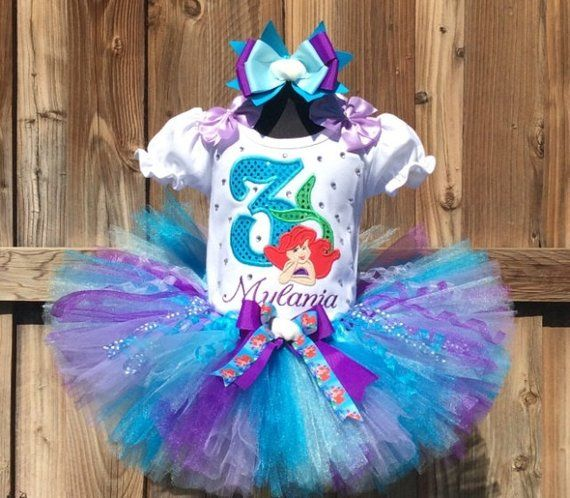 410b98146467 Ariel Little Mermaid Girls Personalized Birthday Tutu Outfit and Bow On  Headband Ages 1-6, Toddler,