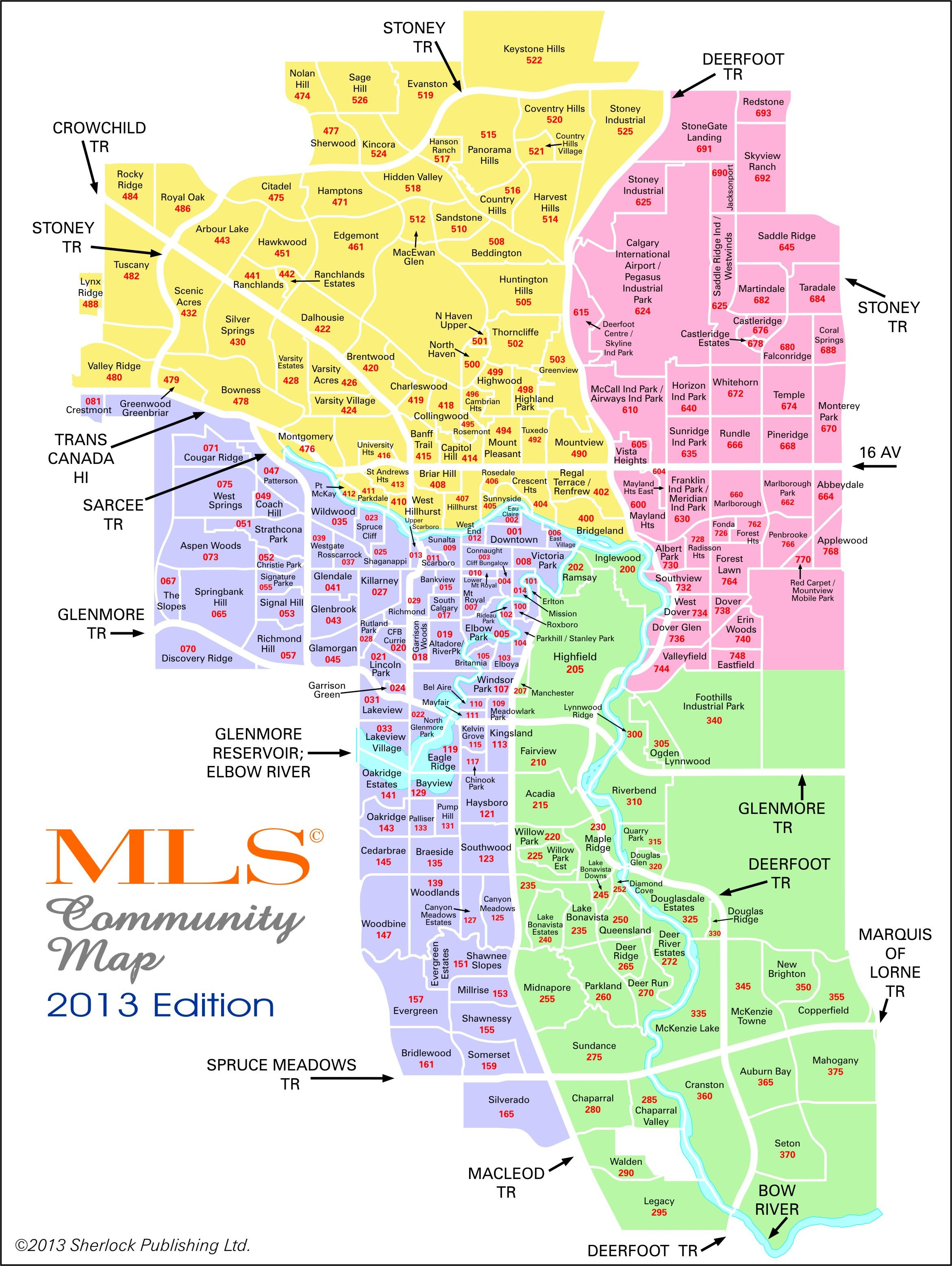 Calgary real estate map mls system zones agriculture for Zone commune