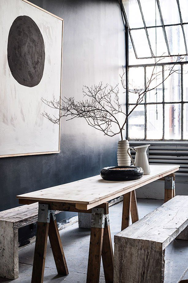 Genial A Loft/atelier, Dark Grey, Art With Few Colors, Bench And Table Made Out Og  Reused Wood   The Small Details Are Very Visible!