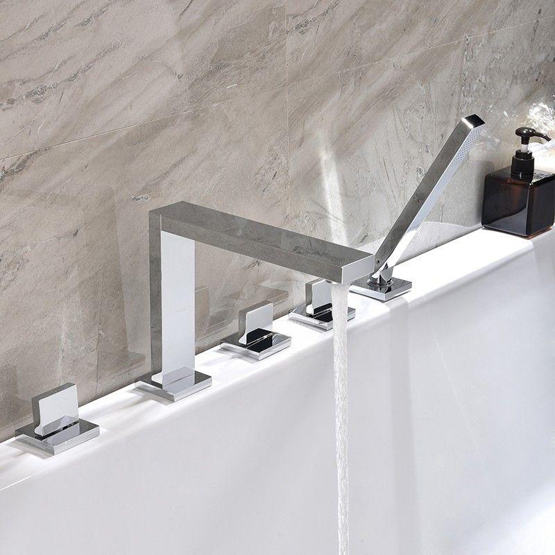 Modern Led 3 Hole Roman Tub Filler Waterfall Tub Faucet With Hand Shower Tub Faucet Tub Faucet Sets Waterfall Tub Faucet