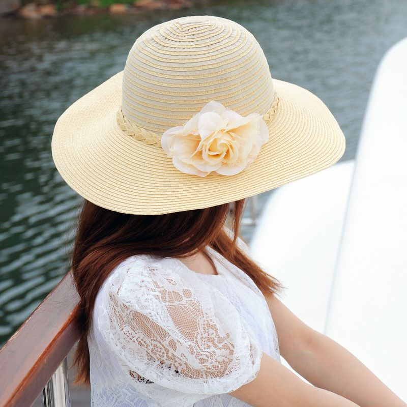 Gran flor de sombrero de paja de verano playa de sombreros de la mujer sol-  el sombreado de paja sombrero de trenza 14641b0659c