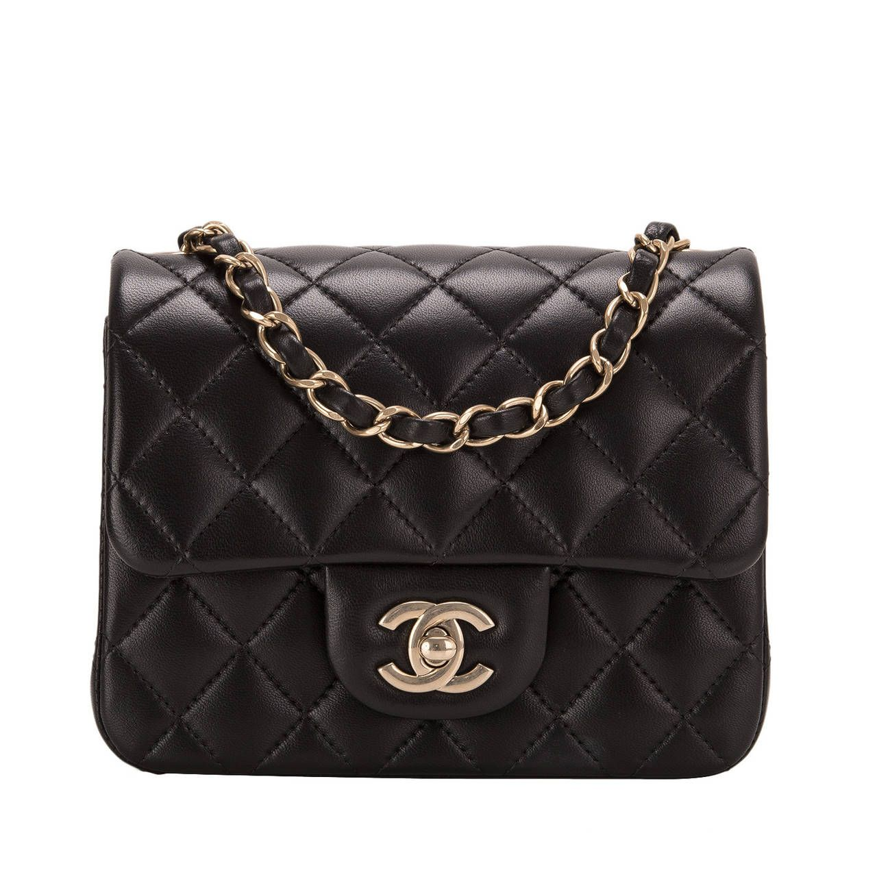 d2ec6dcc21149d Chanel Black Quilted Lambskin Square Mini Classic Flap Bag | From a  collection of rare vintage