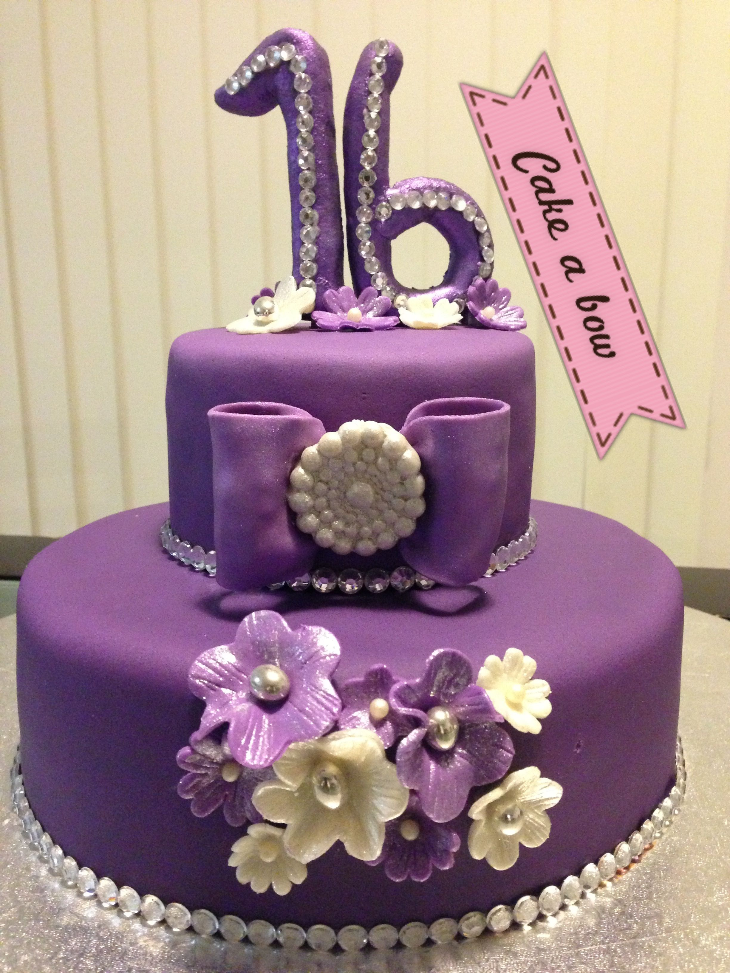 Sweet 16th purple bling cake