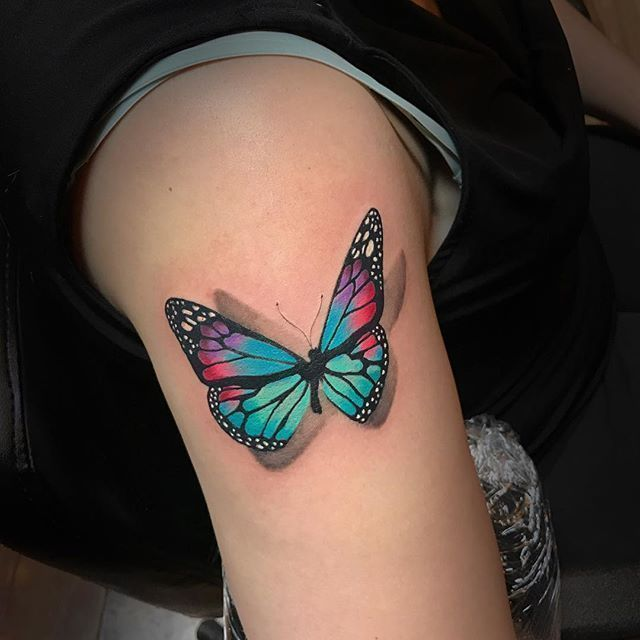 Photo of Tatouage papillon multicolore sur la demi-manche: Tatouages ​​de papillon – # – # – # Ch …