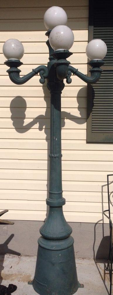 Antique Cast Aliminum 5 Light Lamp Post Street Light Steampunk Lamp Post Lamp Light Street Light