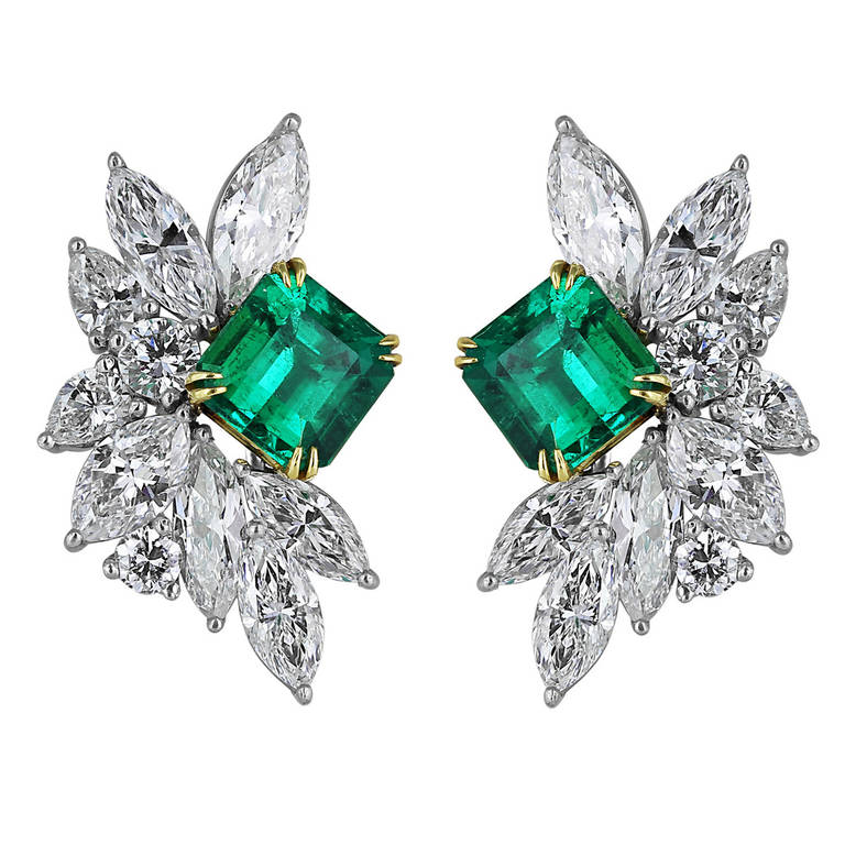 3 2 Carat Emerald And Diamond Cluster Earrings From A