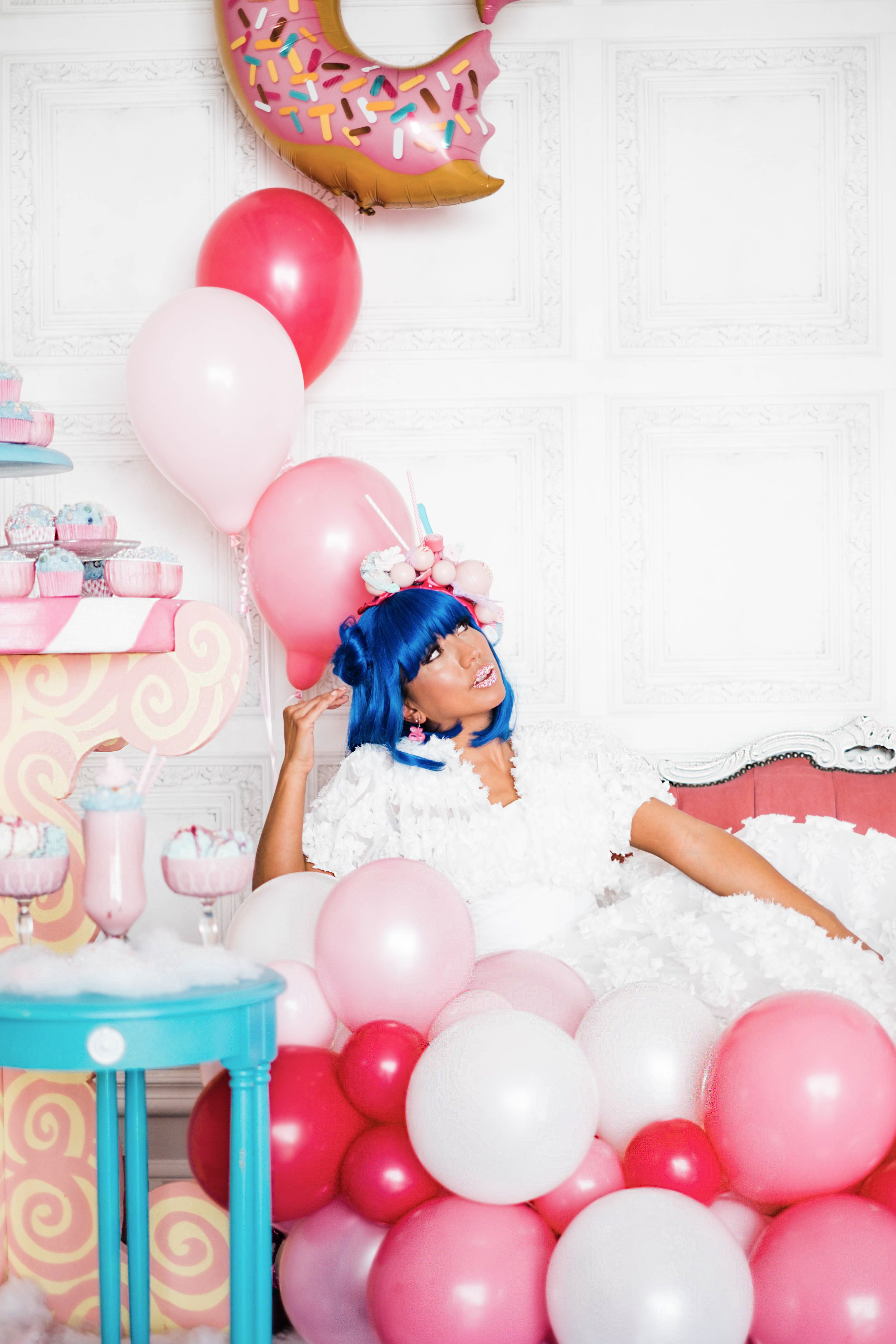 Turquoise and pink wedding candy inspiration. Blue hair bride in a ...