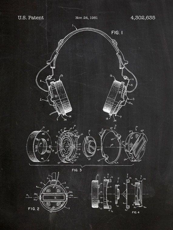 Headphones Patent Poster 18x24 Screen Print Decoration Technical Invention Design Blueprint Schematic Retro Edu Headphones Art Graphic Poster Art Patent Prints
