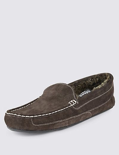 Suede Moccasin Slippers with Thinsulate