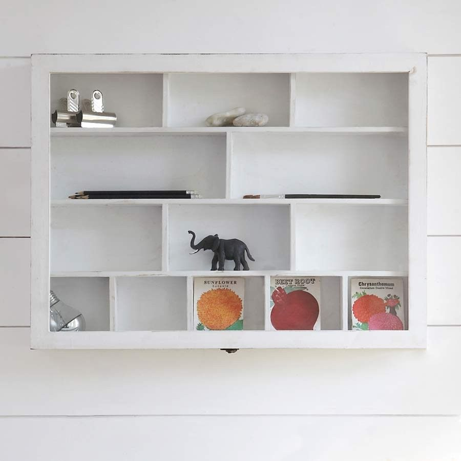 This Versatile 13 Compartment Shabby Chic Wooden Shelf Unit Is Perfect For Storing Household