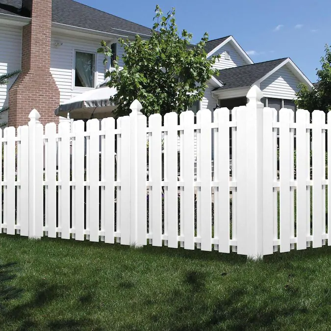 Freedom Pre Assembled Shadowbox 6 Ft H X 6 Ft W White Vinyl Dog Ear Vinyl Fence Panel In 2020 Vinyl Fence Panels Vinyl Fence Fence Panels
