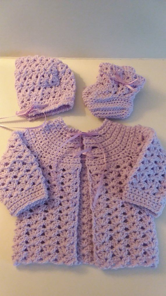 Crocheted Sweater Set, Baby Sweater Set, Lavender
