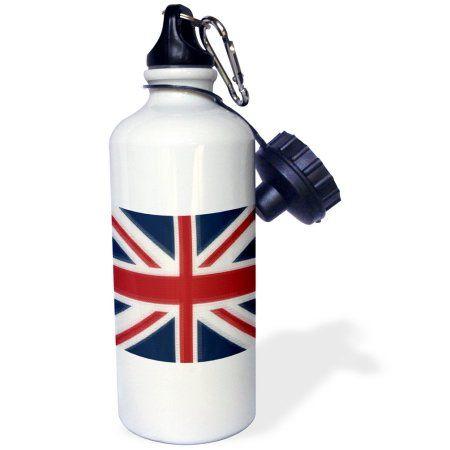 3dRose Union Jack UK, Sports Water Bottle, 21oz, White