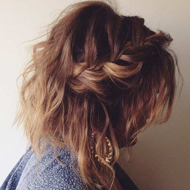 Loose And Messy Braided Hairstyle For Mid Length Hair Medium Length Hair Styles Hair Styles Medium Hair Braids